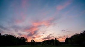 Molnfluga ovanför skogen på solnedgången arkivfilmer