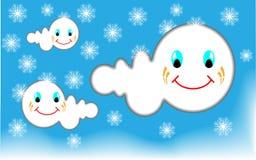 Molnhimmel och snö Arkivfoton