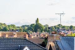 Molnig dagCityscapesikt av Northampton UK Royaltyfria Bilder