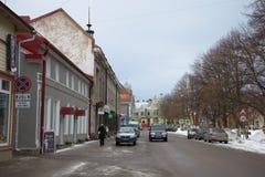 Molnig februari dag på den Kirov fyrkanten Sortavala Karelia Royaltyfri Fotografi