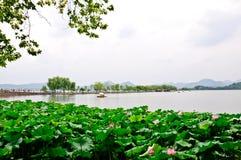 Molnig Hangzhou västra Lake Fotografering för Bildbyråer