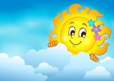 Molnig himmel med att lura sol 7 Arkivfoto