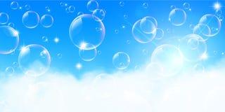 Molnig landskapbakgrund för blå himmel stock illustrationer