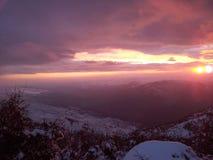 Molnig sikt av en solnedgång 02 Royaltyfri Fotografi