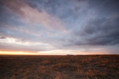 Molnig solnedgång över fält arkivbild