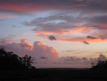 Molnig solnedgång över träsk Arkivfoton