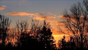 Molnig solnedgång i naturen arkivfilmer