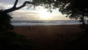 Molnig soluppgång på stranden fotografering för bildbyråer