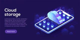 Molnlagring med den isometriska vektorillustrationen för mobiltelefon mobi stock illustrationer