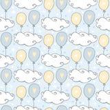 Molnmodell Gullig sömlös modell med moln och ballonger på blå bakgrund stock illustrationer