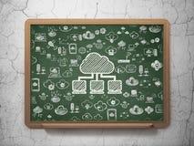 Molnnätverkandebegrepp: Molnnätverk på skolförvaltningbakgrund vektor illustrationer