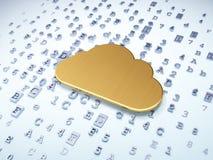 Molnnätverkandebegrepp: Guld- moln på digitalt Royaltyfri Foto