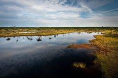Molnreflexioner i träsksjön Royaltyfria Bilder