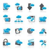 Molnservice och objektsymboler Arkivfoto