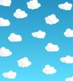 Molnsymbolsuppsättning på bakgrund för blå himmel Roliga former också vektor för coreldrawillustration Vektor Illustrationer