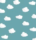 Molnsymbolsuppsättning på bakgrund för blå himmel Roliga former också vektor för coreldrawillustration Royaltyfri Illustrationer