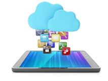 Molnteknologi, modern teknologi. Skachaka applikationer på yo Fotografering för Bildbyråer