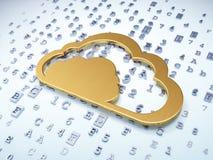 Molnteknologibegrepp: Guld- moln på digitalt Royaltyfri Fotografi
