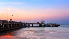 Molo łódkowaty zmierzch Tajlandia Obrazy Royalty Free