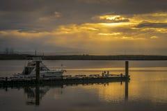 Molo al bello tramonto, Vancouver B del ` s di Richmond Fisherman C C immagini stock
