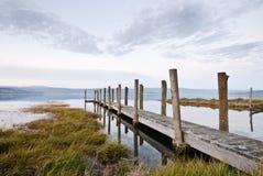 Molo al crepuscolo, fiume di Tamar, Tasmania fotografia stock libera da diritti