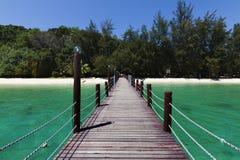 Molo all'isola di Manukan a Sabah, Borneo, Malesia Fotografie Stock