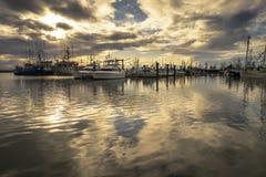 Molo del ` s di Richmond Fisherman con acqua calma, Vancouver B C Cana fotografie stock libere da diritti