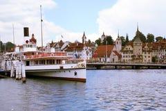 Molo della barca di Lucerna Immagine Stock Libera da Diritti