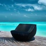 Molo della spiaggia alle Maldive Fotografia Stock Libera da Diritti