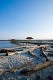Molo della spiaggia di Bernas fotografie stock