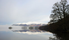 Molo di Derwentwater in inverno Immagine Stock