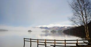 Molo di Derwentwater in inverno Fotografia Stock