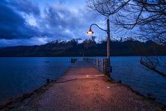 Molo di Glenorchy in città di Glenorchy, Otago, isola del sud, Nuova Zelanda Immagini Stock Libere da Diritti