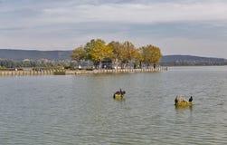 Molo dla turystycznych statków na jeziornym Balaton, Keszthely, Węgry Zdjęcie Royalty Free