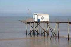 Molo i kabina dla łowić w Francja Obraz Royalty Free