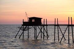 Molo i kabiny dla łowić Zdjęcie Royalty Free