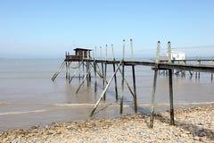 Molo i kabiny dla łowić w Francja Obraz Stock