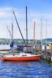 Molo i łodzie w Reichenau wyspie na Jeziornym Constance Obrazy Royalty Free