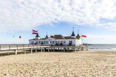 Molo i plaża Ahlbeck przy Baltic Fotografia Royalty Free