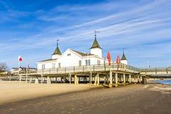 Molo i plaża Ahlbeck przy Baltic Zdjęcia Royalty Free