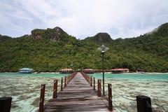 Molo lungo nell'isola di semporna Fotografia Stock Libera da Diritti