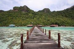 Molo lungo nell'isola di semporna Fotografie Stock Libere da Diritti