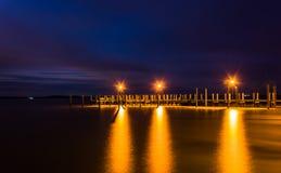 Molo na Chesapeake zatoce przy nocą, w Havre De Ozdabiający, Maryland Obrazy Stock