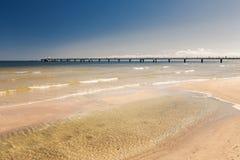 Molo przy morzem, krajobrazem, Ahlbeck w Niemcy/ Zdjęcie Royalty Free
