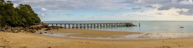 Molo przy Plage des paniusiami w Noirmoutier Zdjęcie Royalty Free