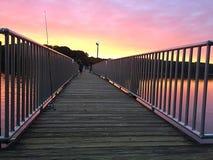 Molo przy wschodem słońca zdjęcie stock