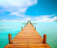 Molo su Isla Mujeres Fotografia Stock Libera da Diritti