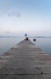 Molo in un lago mountain Fotografia Stock