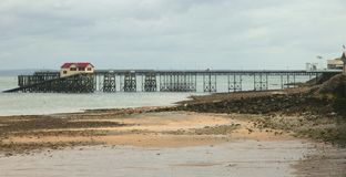 Molo w bełkotach, Swansea, południowe walie Obrazy Royalty Free
