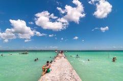 Molo w Karaibskiej Bacalar lagunie, Quintana Roo, Meksyk Obraz Stock
